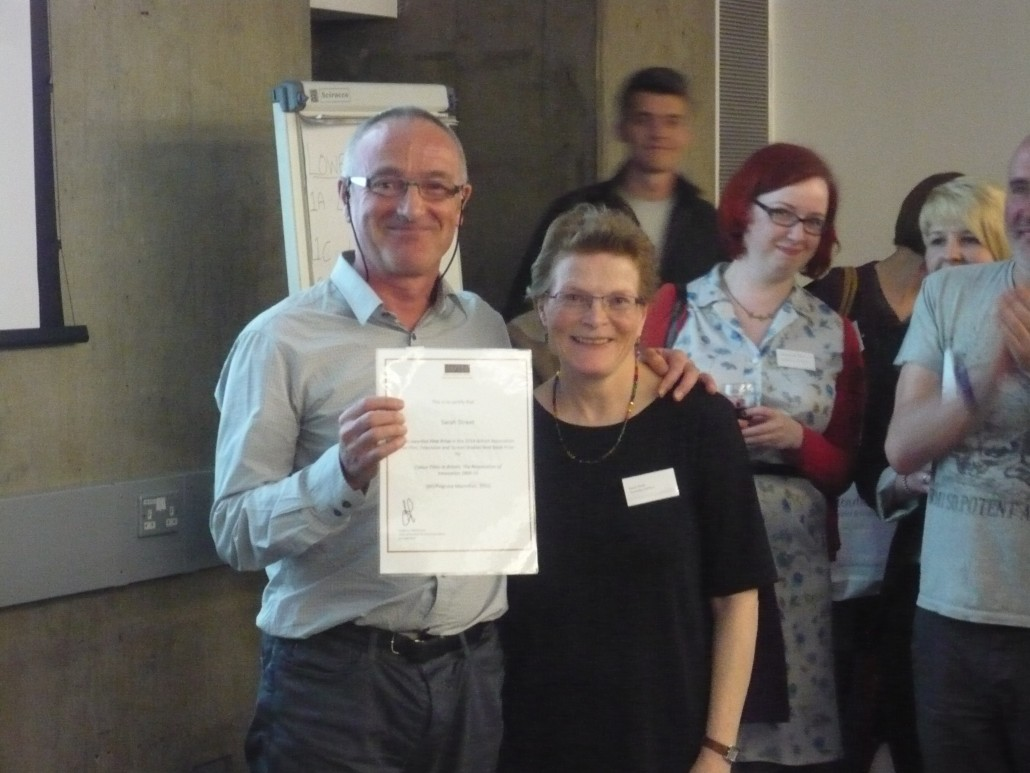 Awarding First Prize for a monograph to Sarah Street at the BAFTSS annual conference in London 2014